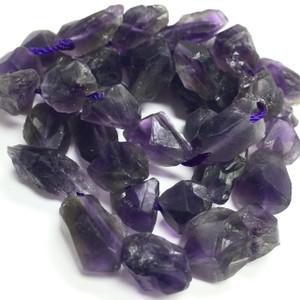 Amethyst Satin Rough Cut Nugget Beads
