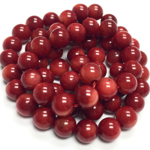 Red Round Bamboo Coral Beads 6mm