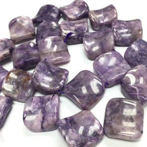 Charoite Twisted Sqaures on the Diagonal Beads-16mm