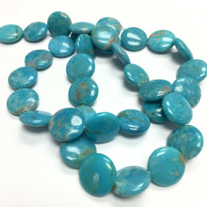 Turquoise Puffed Disc Beads-12 x 4mm