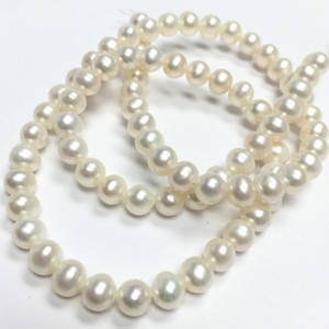 Freshwater Semi-Round Ivory Pearl Beads-5.5mm
