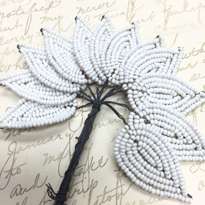 Vintage White Beaded Millinery Leaves-34 x 20mm