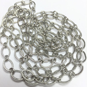Rhodium Plated Diamond Cut Oval Chain-5 x 9mm