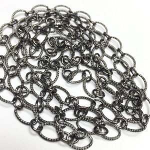 Gunmetal Plated Diamond Cut Oval Chain- 5 x 9mm