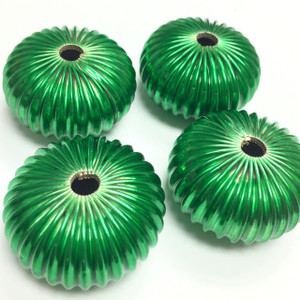 Vintage Glorious Green Corrugated Sea Urchin Beads-32 x 18mm