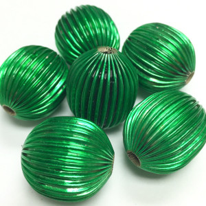 Vintage Glorious Green Corrugated Metal Olive Beads-20 x 18mm