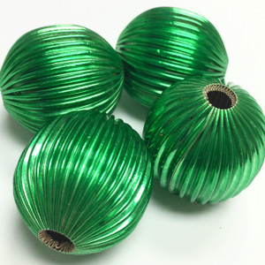 Vintage Glorious Green Corrugated Metal Olive Beads-28 x 26mm