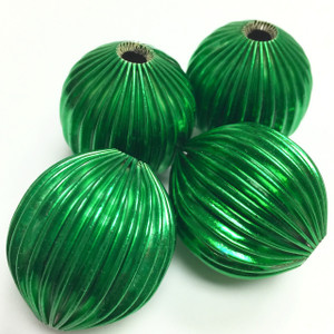 Vintage Glorious Green Corrugated Metal Olive Beads-32 x 29mm