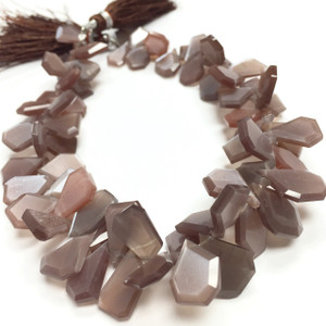 RARE! Chocolate Moonstone Crown Cut Beads-10 to 14mm