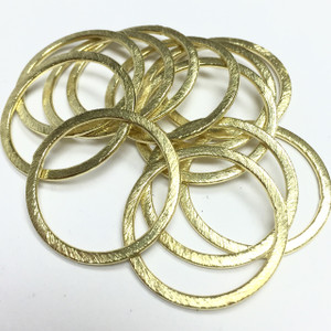 Brushed Gold Toned Finish Brass Round Hoop Rings-24mm