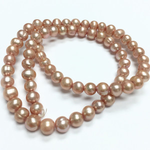 Freshwater Pink Champagne Semi-Round Pearl Beads-6-6.5mm