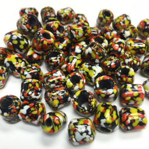 RARE! Vintage Ethnic Venetian Crumb Style Glass Beads-10-12mm