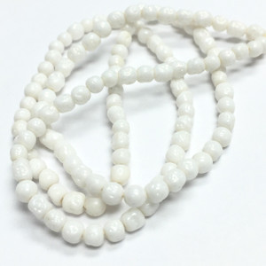 Rare Vintage Miriam Haskell Baroque Glass Beads-White-3-4mm