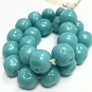 Rare Vintage Miriam Haskell Baroque Glass Beads-Blue Green Turquoise-12mm