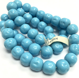 Rare Vintage Miriam Haskell Baroque Glass Beads-Turquoise-10mm