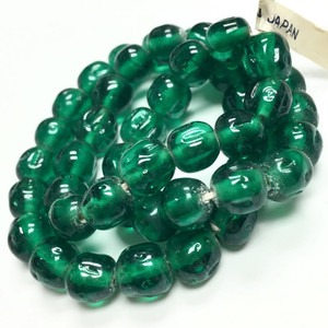 Rare Vintage Miriam Haskell Baroque Glass Beads-Emerald-8mm