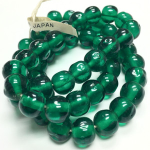 Rare Vintage Miriam Haskell Baroque Glass Beads-Emerald-10mm