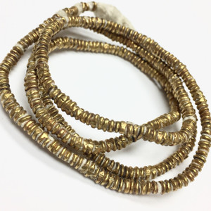 "Vintage Handmade African Brass Beads 13"" Strand-3-3.5mm"