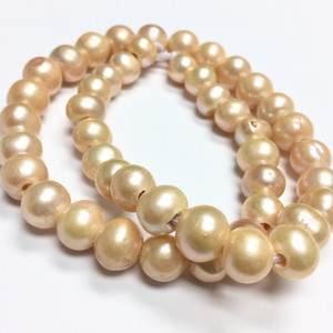 Large Holed Freshwater Potato Pearl Beads-Peach-9-10mm