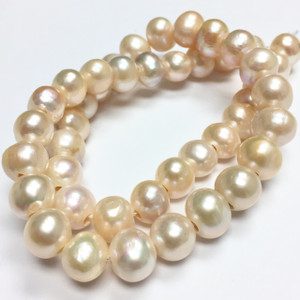 Large Holed Freshwater Potato Pearl Beads-Peachy Pink-9-10mm