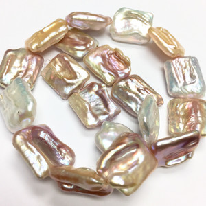 Freshwater Natural Square Baroque Coin Pearl Beads-20 x 24mm