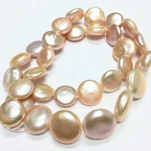 Freshwater Pink Coin Pearl Beads-14-15mm