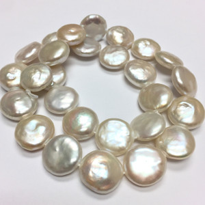 Freshwater Creamy White Coin Pearl Beads-14-15mm