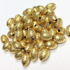 Vintage  Gold Tone Sweet and Spiraled Rice Beads-7 x 4mm