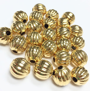 Vintage Gold Tone Pumpkin Beads-8mm