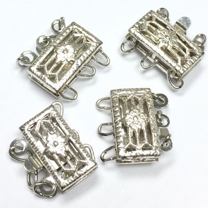Vintage Rhodium Triple Strand Filigree Box Clasp-10 x 5mm