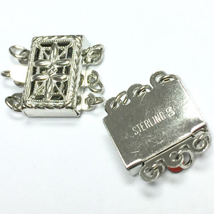 Vintage Filigree Triple Strand Box Clasp-7 x 10mm