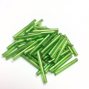Vintage Czech Mirrored Bugle Beads-Olive Green-20mm