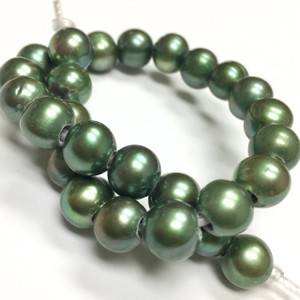 Large Holed Freshwater Potato Pearl Beads-Sage Green-8-9mm