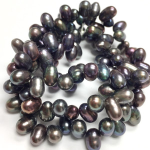 Freshwater Peacock Top Drilled Dancing Rice Pearl Beads-4 x 6mm