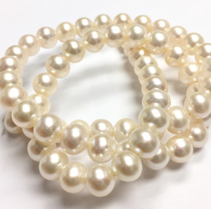 Freshwater White Semi-Round Pearl Beads-6-6.5mm