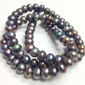 Freshwater Peacock Button Pearl Beads-6-7mm