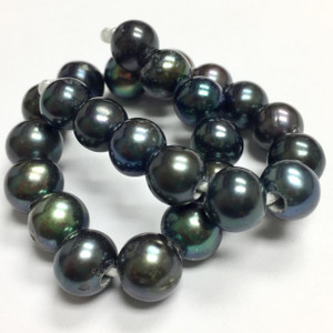 Large Holed Lustrous Freshwater Round Pearls - Peacock- 9-10mm