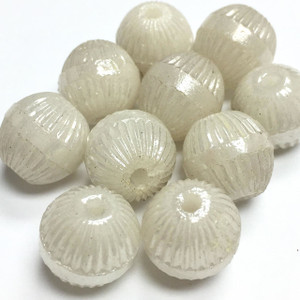 Vintage Winter white Glass Beads 11mm