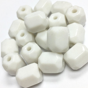 Vintage White Glass Hexagonal Beads 10mm