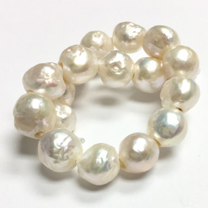 Natural Snowball White Pearl Beads  10-11mm