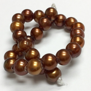 Large Hole Pearl Beads Copper 7-8mm