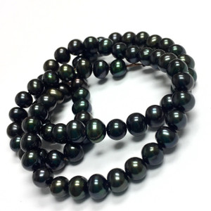 Freshwater Peacock Green Semi-Round Pearl Beads 5.5-6mm