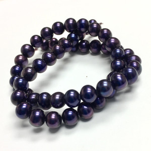 Freshwater Semi-Round Pearl Beads Purple Passion 7.5-8mm