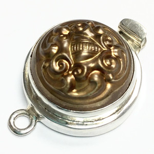 Vintage Antiqued Gold Button Box Clasp