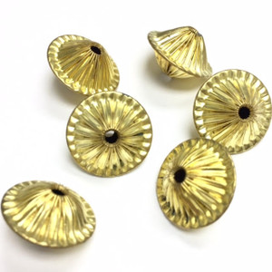 Vintage Brass Corrugated Saucer Beads  15 x 10mm