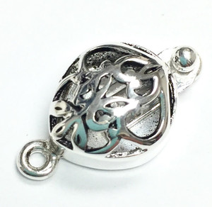 Sterling Silver Pear Filigree Box Clasp 20 x 12mm