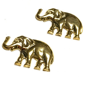 Vintage Gold Toned Lucky Elephant Stampings 28 x 18mm