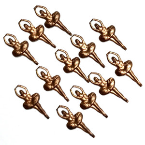 Vintage Copper Ballerina Charm Dangles 16 x 7mm