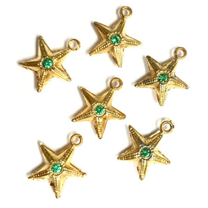 Vintage Emerald Crystallized Star Charms Dangles  14mm