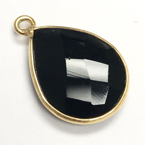 Faceted Black Onyx Gold Filled Bezeled Drop Focal Bead 13 x 17mm